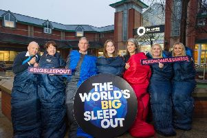 From left:Social Bite's Maria Healy (centre) with The Centre's Mark Fallon, Anne McGroarty, Patrick Robbertze, Ashley Bisland, Stephanie Rodgers and Natasha Gallacher. Picture: Contributed