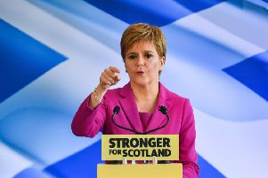 Nicola Sturgeon at the launch of the SNP election campaign on Friday, where she suggested she could exert pressure on Corbyn. Picture: Jeff J Mitchell/Getty