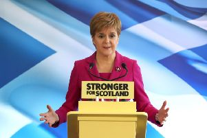 Nicola Sturgeon speaks at the SNP's general election campaign launch in Edinburgh. Picture: Andrew Milligan/PA Wire