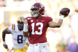 University of Alabama quarterback Tua Tagovailoa throws a pass against Louisiana State University. Picture: Todd Kirkland/Getty