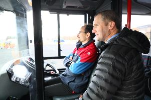 Transport secretary Michael Matheson trialling the new autonomous bus
