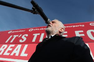 UK Labour leader Jeremy Corbyn campaigns in Hamilton yesterday during a two-day visit to Scotland. Picture: PA