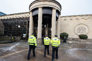 The High Court in Glasgow heard the blade was only stopped by the officer's breastbone, which prevented it from reaching his vital organs. Picture: John Devlin