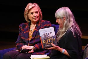 Hillary Clinton talks to Mary Beard at the launch of Gutsy Women: Favourite Stories of Courage and Resilience, a book by Clinton and her daughter Chelsea (Picture: Aaron Chown/PA Wire)