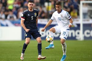 Scotland's Declan Gallagher, left, showed up well against Cyprus on his international debut. Picture: Tim Goode/PA Wire
