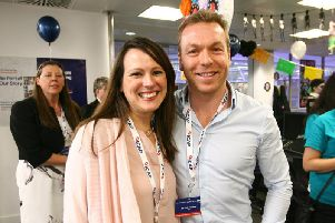 Sir Chris Hoy and Lady Sarra Hoy during ICAP's 25th annual global Charity Day at the brokers' London offices. Picture: PA