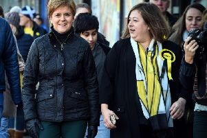 The First Minister joined Kirsten Oswald, SNP candidate for East Renfrewshire, to meet voters and activists. Picture: Getty Images