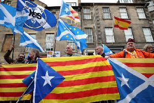 Pro-independence supporters demonstrate outside the Spanish consulate in Edinburgh in 2018. Authorities in Madrid later dropped plans to extradite Clara Ponsati but revived them this month. Picture: PA