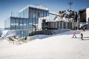 The ice Q restaurant perched at the peak of Gaislachkogl was the set for the Hoffler Klinik in Spectre and is next to 007 Elements, a musuem celebrating James Bond.