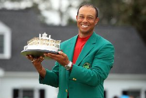 Tiger Woods celebrates his 2019 Masters win. Picture: Getty Images