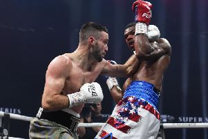 Josh Taylor competes against Ryan Martin at the Hydro in November 2018