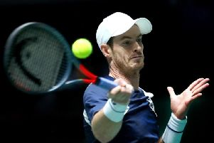 Andy Murray in action against Tallon Griekspoor