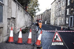 Work getting underway on Monday in Constution Street, Leith. Picture: Lisa Ferguson