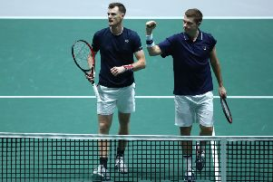 Jamie Murray and Neal Skupski approach the net after clinching victory over Alexander Bublik and Mikhail Kukushkin. Picture: Getty.