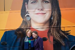 Liberal Democrat leader Jo Swinson poses with her mother Annette in front of the party's tour bus while on the campaign trail in Glasgow. Picture: Aaron Chown/PA Wire