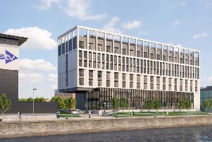 An artist's impression of the proposed 150-bedroom Holiday Inn hotel at Pacific Quay in Glasgow.
