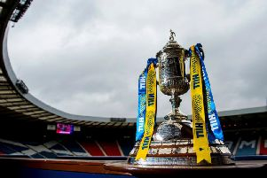 A general view of the Scottish Cup trophy at Hampden Park