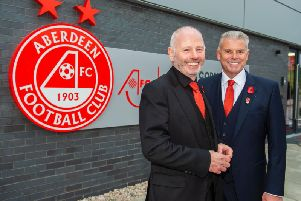 Aberdeen chairman Stewart Milne with vice chairman Dave Cormack during the official opening of Cormack Park last month. Picture: SNS