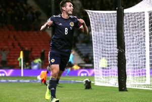 John McGinn celebrating after scoring for Scotland in midweek. Picture: Getty
