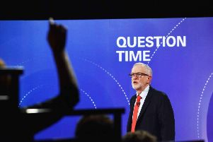 Jeremy Corbyn answers questions during the BBC Question Time special at the Octagon in Sheffield. Picture: 'Jeff Overs/PA