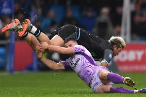 Glasgow winger DTH van der Merwe is tackled by Exeter's Joe Simmonds. Picture: Stu Forster/Getty Images