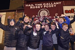 Linlithgow Rose supporters get in the mood for their Scottish Cup third round tie with Falkirk at Prestonfield. Picture: Rob Casey/SNS