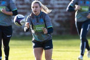 Scotland's Chloe Rollie trains at Scotstoun Stadium. Picture: Gary Hutchison / SNS