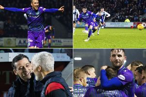 Clockwise from top left: Doidge celebrates his goal, Mallan converts from the spot, Hibs celebrate the second goal and Jack Ross greets Jim Goodwin