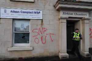 The office of Clydesdale MSP Aileen Campbell in Carluke was spray-painted with 'SNP Out' and a window was smashed. Picture: John Devlin