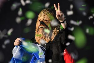 Lewis Capaldi appeared in a Chewbacca mask at last year's TRNSMT festival, in response to a jibe from Noel Gallagher (Photo: Getty)
