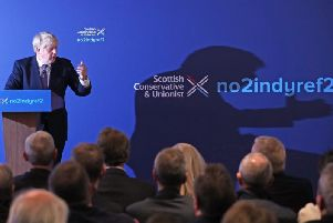 Prime Minister Boris Johnson unveiling the Scottish Conservative manifesto