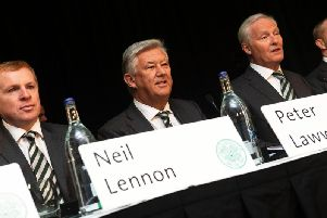 Neil Lennon, Peter Lawwell and Ian Bankier pictured at the AGM