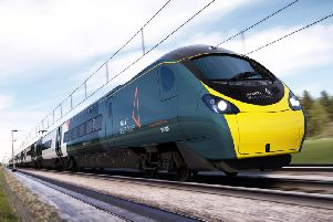 "A new teal-like ""graphene"", black, orange and white livery will replace Virgin Trains' red. Picture: Avanti West Coast"