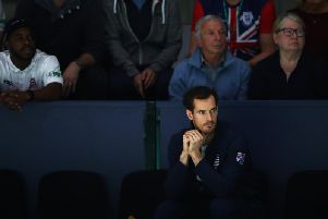 Andy Murray looks on during the Davis Cup tournament in Madrid. The Scot is hopeful of playing at Wimbledon next year