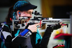 Scotland's Seonaid McIntosh competes during the women's 50m rifle 3 positions shooting final ( / AFP PHOTO / Patrick HAMILTON  via Getty Images)