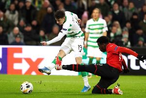 Celtic's Mikey Johnston scores his side's third goal against Rennes. Picture: Andrew Milligan/PA Wire