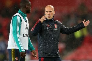 """File photo dated 30-09-2019 of Arsenal's Freddie Ljungberg (right) PRESS ASSOCIATION Photo. Issue date: Friday November 29, 2019. Arsenal have sacked boss Unai Emery following a run of seven games without a win. The Gunners have confirmed Freddie Ljungberg will take charge on an interim basis and pointed to """"results and performances not being at the level required"""" for the reason behind Emery's exit. See PA story SOCCER Arsenal Photo credit should read Nick Potts/PA Wire."""