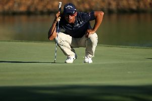Pablo Larrazabal lines up a putt during his second-round 69. Picture: Jan Kruger/Getty