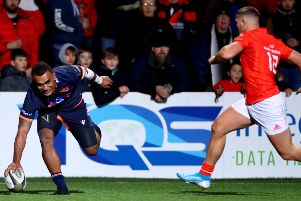 Eroni Sau touches down to score Edinburgh's second try against Munster. Picture: James Crombie/INPHO/Shutterstock