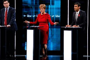 Nicola Sturgeon appears in last night's ITV election debate alongside Labour Party MP Richard Bergen (left) and Conservative MP Rishi Sunak (right) who both stood in for their party leaders. Picture: Getty