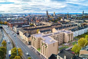 Glasgow's City Garden Apartments, a new build of 65 eco-conscious, luxury apartments, complete with a bee hotel. Picture: Contributed