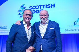 Theo Paphitis (left) and Sir Tom Hunter spoke at the Scottish Edge finals. Picture: Sandy Young