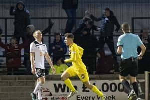 Dunfermline's Kevin Nisbet wheels away after scoring the only goal of the game at Somerset Park. Picture: Alan Harvey/SNS