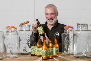 Mark Hazell of Jaw Brew visits the factory to see his beer being bottled. Picture: Iain McLean