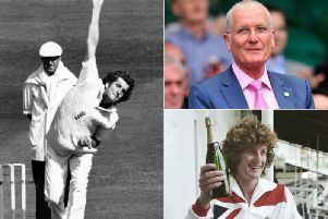 Clockwise from left: Bob Willis in action in June 1983, pictured in 2012 and celebrating his leading wicket haul from the 1977 Ashes at The Oval.