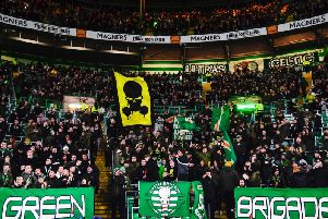 The Green Brigade section was full once again for the visit of Hamilton