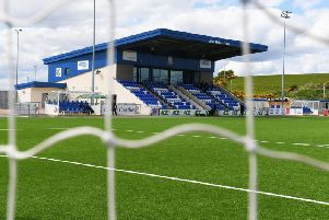 A general view of Cove's Balmoral Stadium
