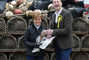 Nicola Sturgeon with the SNP candidate for Angus, Dave Doogan. Picture: Andrew Milligan/PA