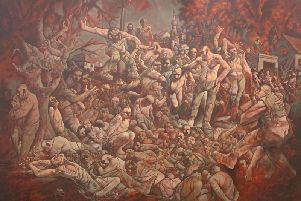 "Peter Howson has described his new painting - The Massacre of Srebrenica - as a depiction of ""a moment in European history."""