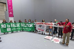 A protest at the Madrid climate summit against carbon markets (Stop Climate Choas)